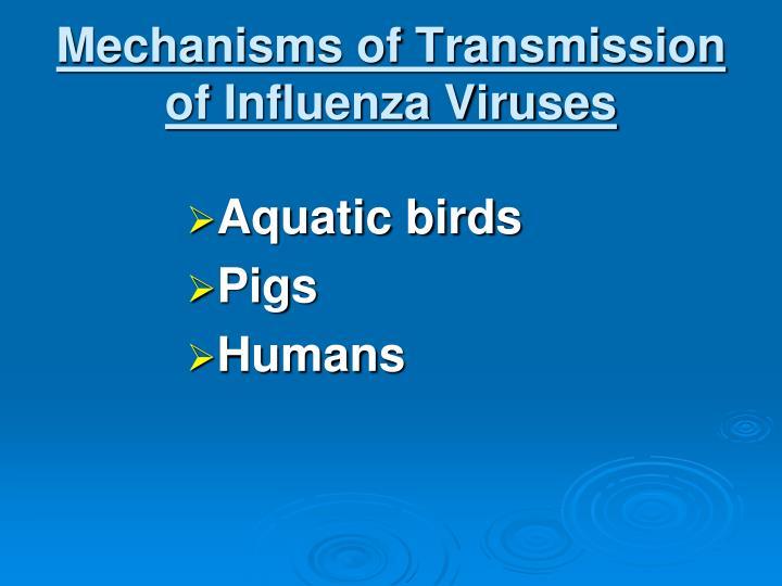 Mechanisms of Transmission of Influenza Viruses