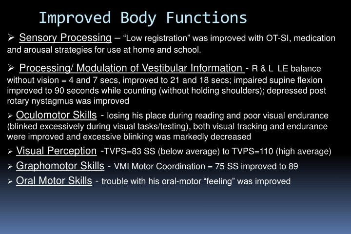 Improved Body Functions