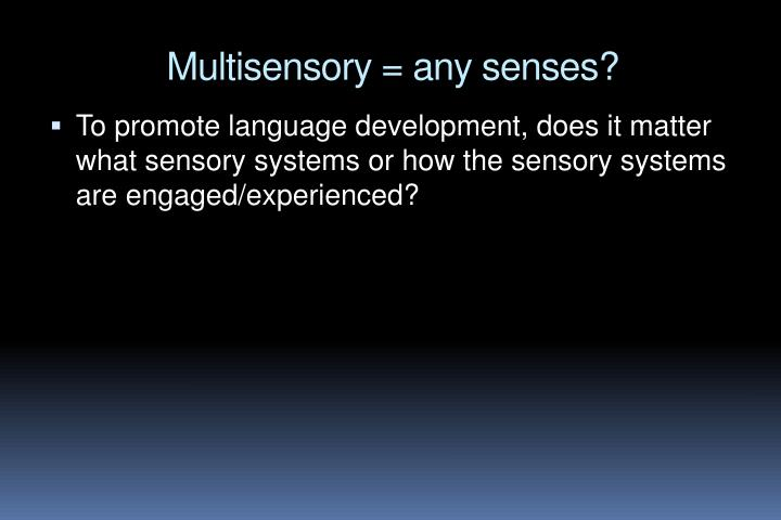 Multisensory = any senses?
