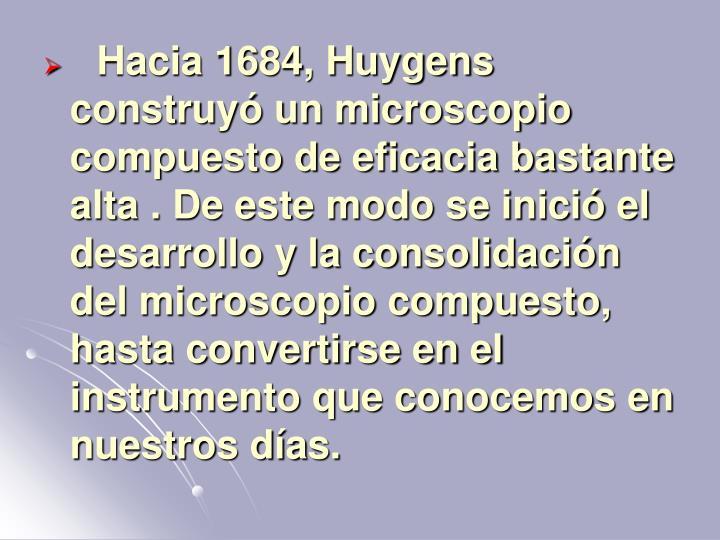 Hacia 1684, Huygens construyó un microscopio compuesto de eficacia bastante alta . De este modo se inició el desarrollo y la consolidación del microscopio compuesto, hasta convertirse en el instrumento que conocemos en nuestros días.