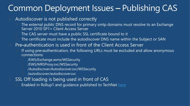 Common Deployment Issues – Publishing CAS