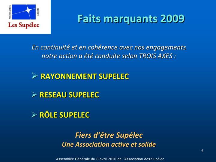 Faits marquants 2009