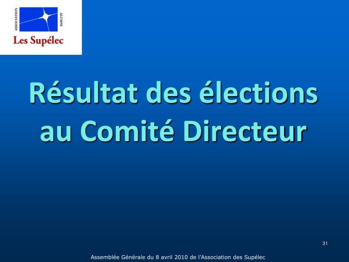 Résultat des élections au Comité Directeur