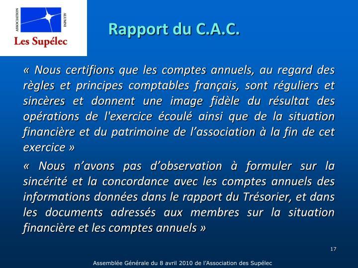 Rapport du C.A.C.