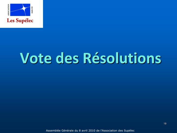 Vote des Résolutions