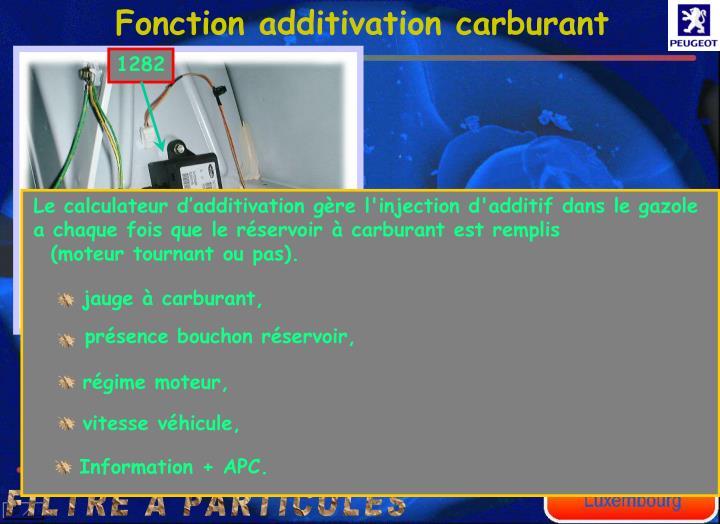 Fonction additivation carburant