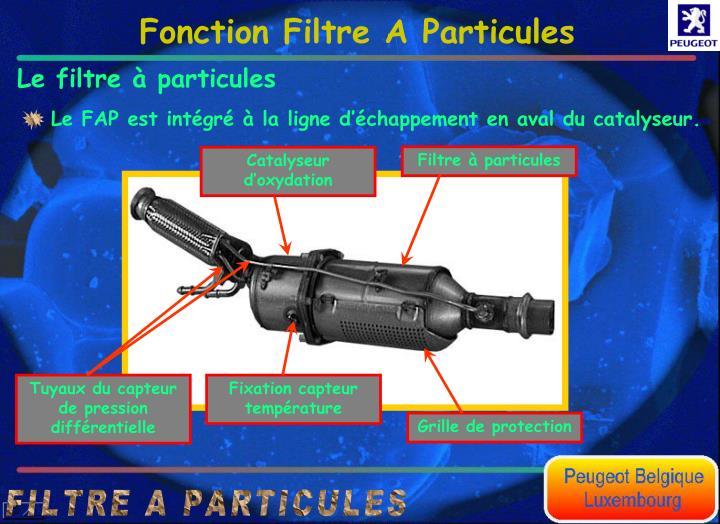 Le FAP est intgr  la ligne dchappement en aval du catalyseur.