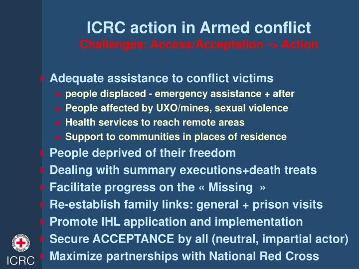 ICRC action in Armed conflict
