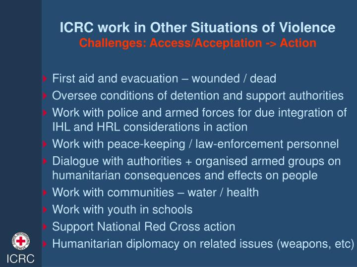 ICRC work in Other Situations of Violence
