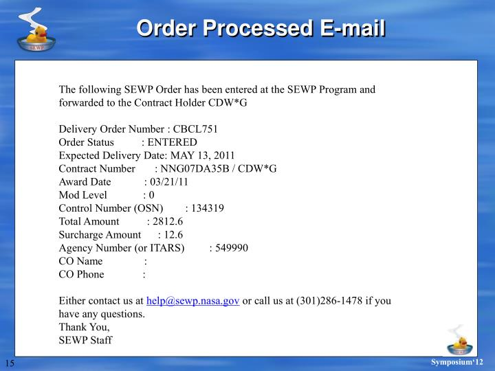 Order Processed E-mail
