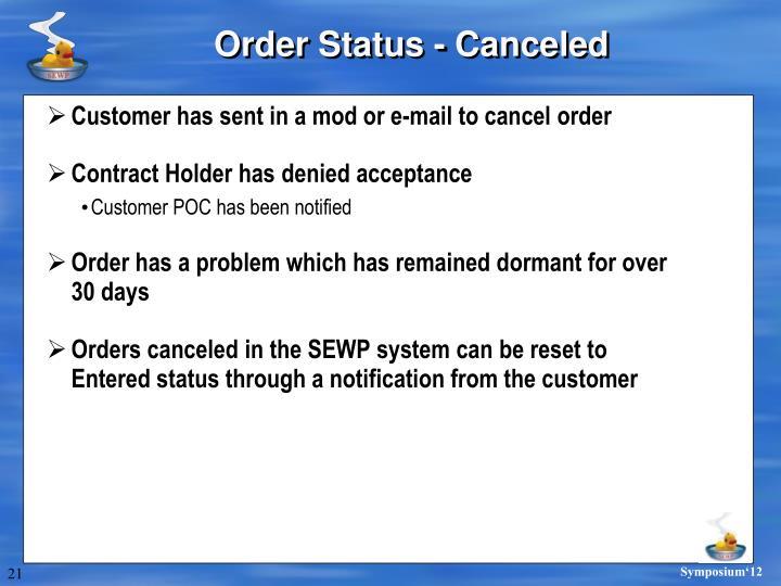 Order Status - Canceled
