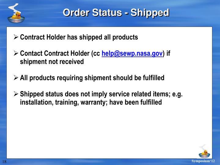 Order Status - Shipped