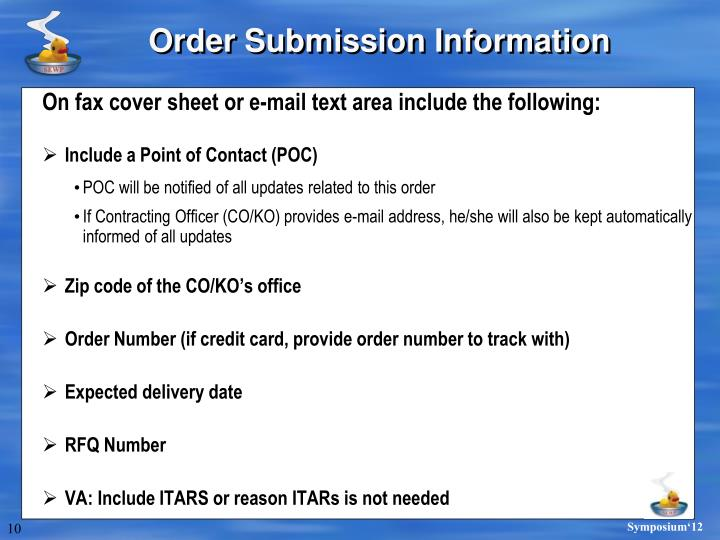 Order Submission Information