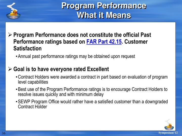 Program Performance does not constitute the official Past Performance ratings based on