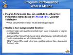 program performance what it means