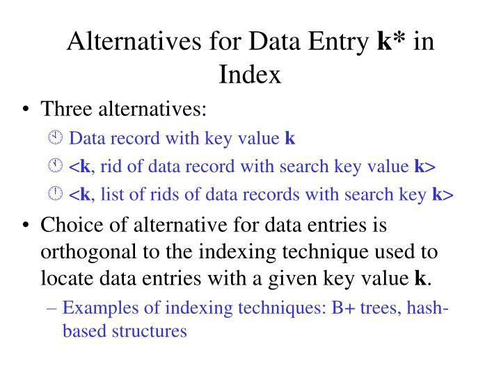 Alternatives for Data Entry