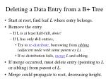 deleting a data entry from a b tree