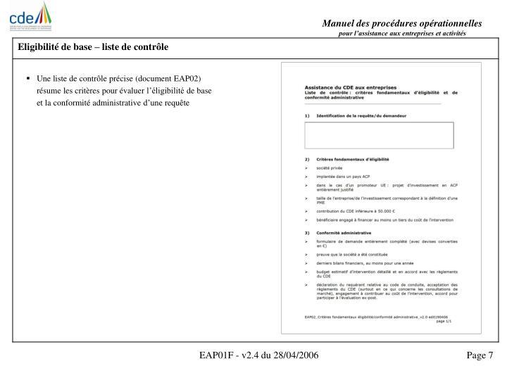 Eligibilité de base – liste de contrôle