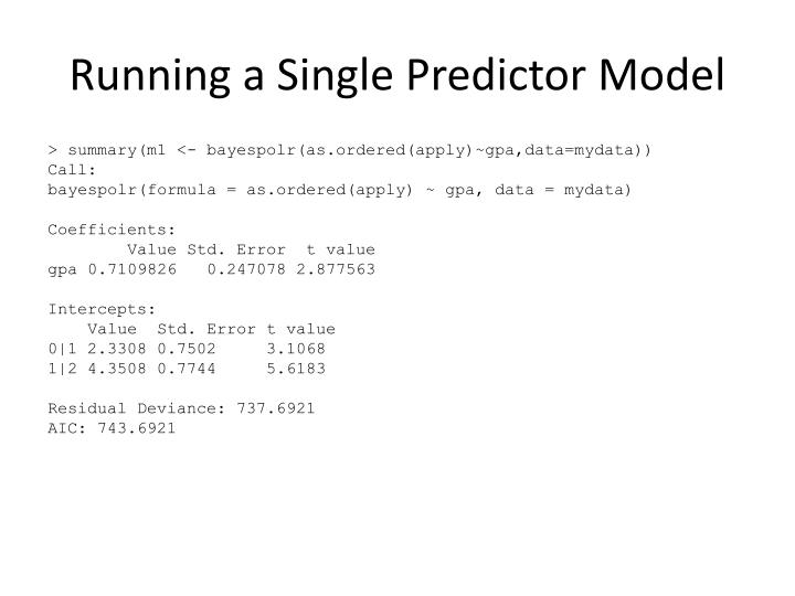 Running a Single Predictor Model
