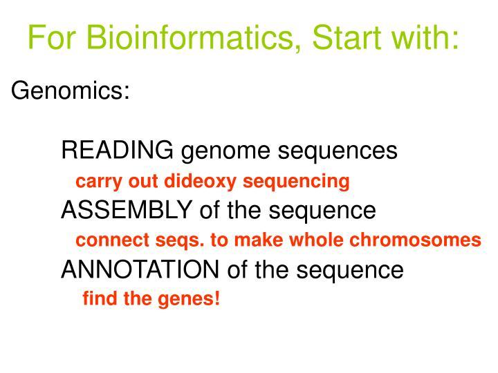 For Bioinformatics
