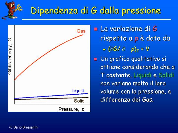 Dipendenza di G dalla pressione