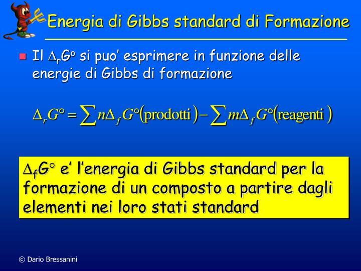 Energia di Gibbs standard di Formazione