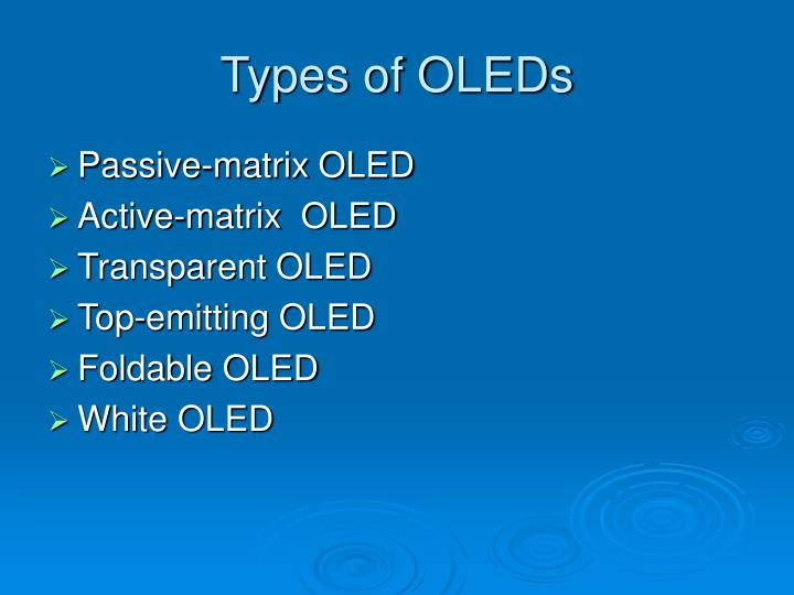 Types of OLEDs