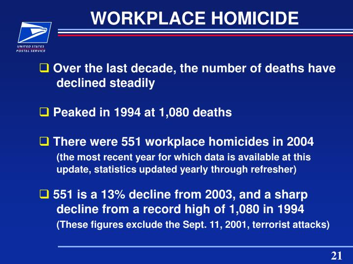 WORKPLACE HOMICIDE