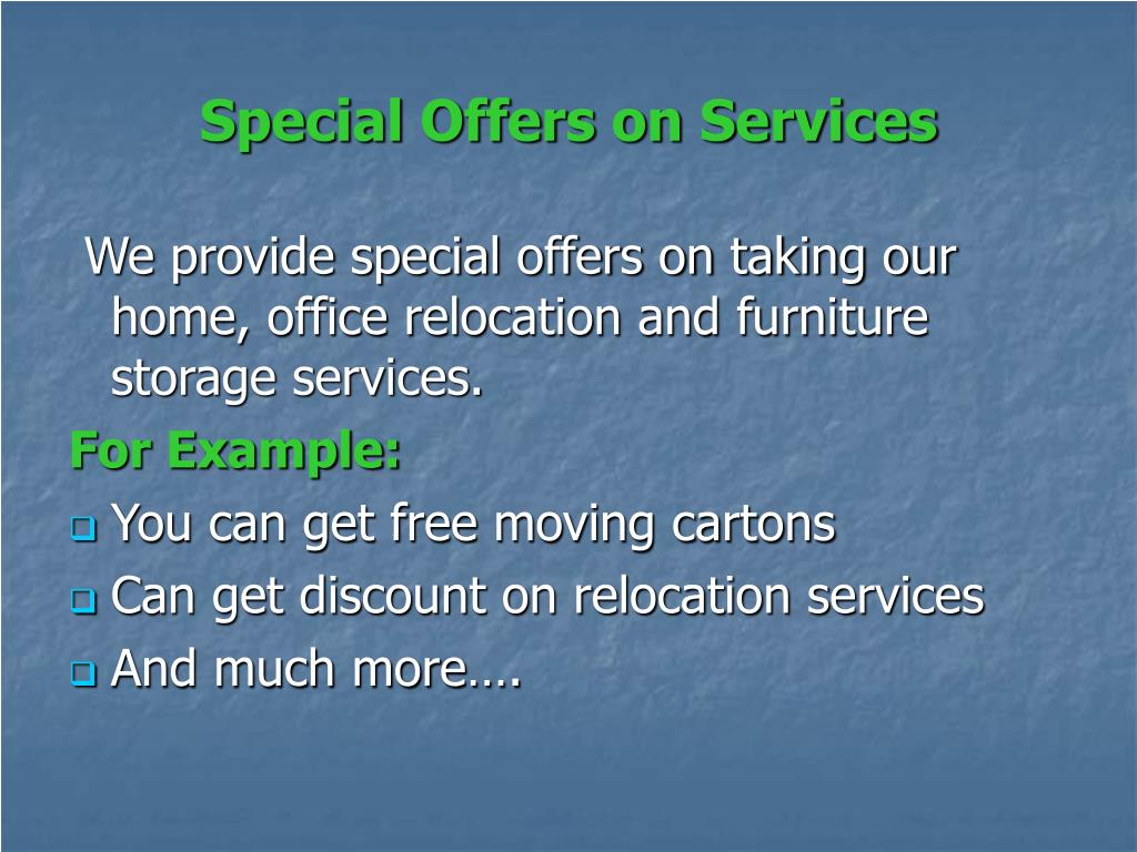 Special Offers on Services