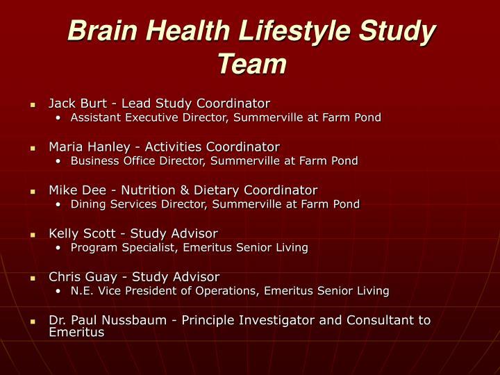 Brain Health Lifestyle Study Team