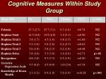 cognitive measures within study group