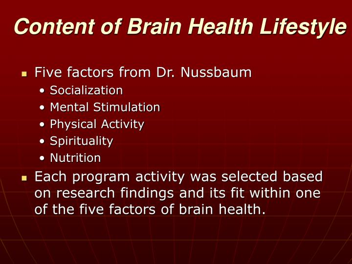 Content of Brain Health Lifestyle