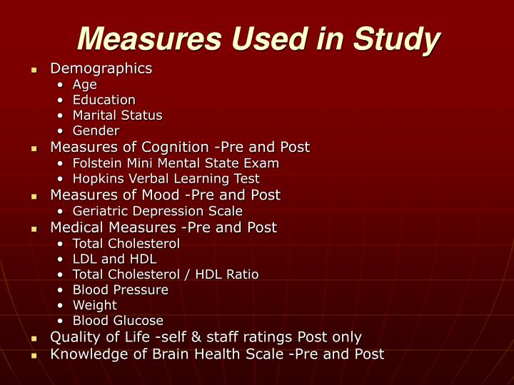Measures Used in Study
