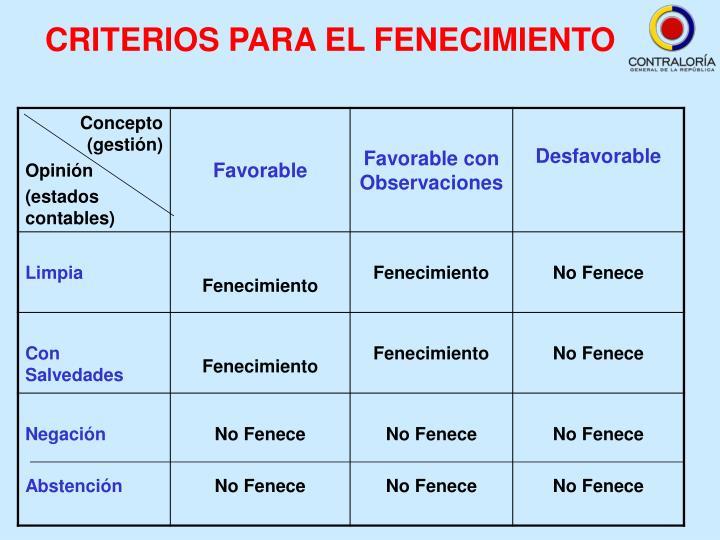 CRITERIOS PARA EL FENECIMIENTO