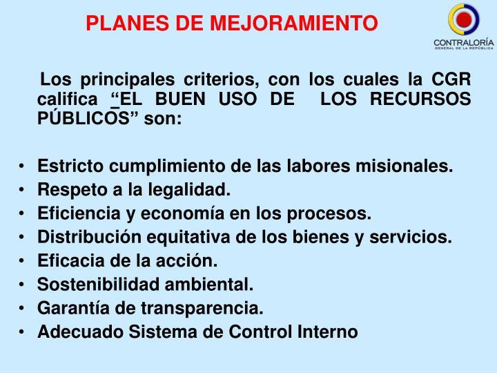 PLANES DE MEJORAMIENTO