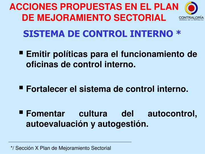 ACCIONES PROPUESTAS EN EL PLAN DE MEJORAMIENTO SECTORIAL