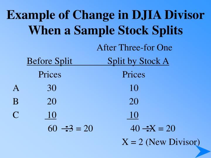 Example of Change in DJIA Divisor When a Sample Stock Splits