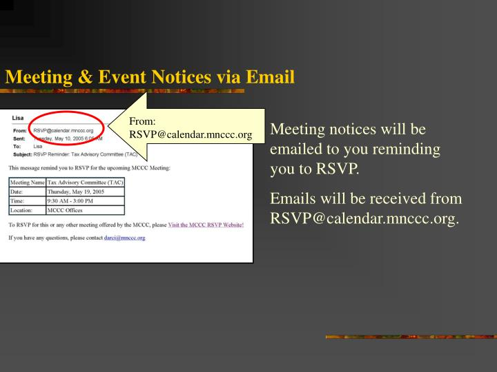 Meeting & Event Notices via Email