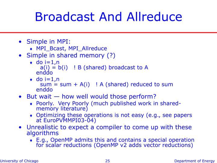 Broadcast And Allreduce