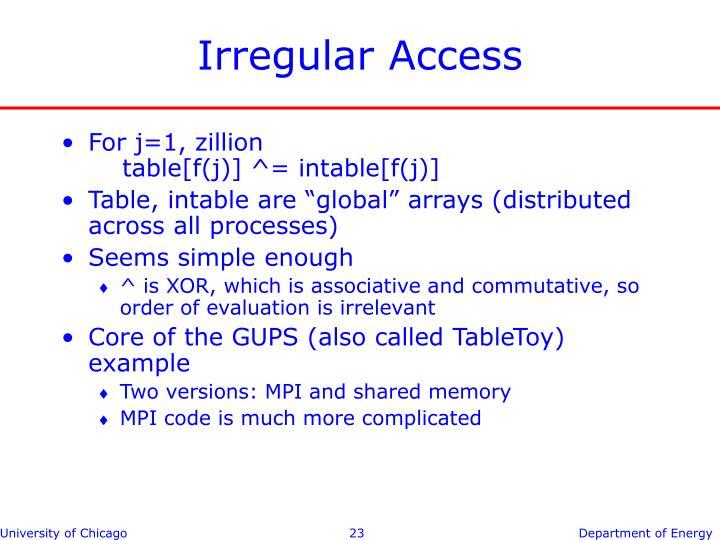 Irregular Access