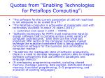 quotes from enabling technologies for petaflops computing
