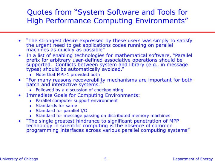 """Quotes from """"System Software and Tools for High Performance Computing Environments"""""""