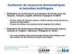 confection de ressources dictionnairiques et textuelles multilingues1