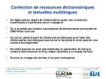 confection de ressources dictionnairiques et textuelles multilingues3