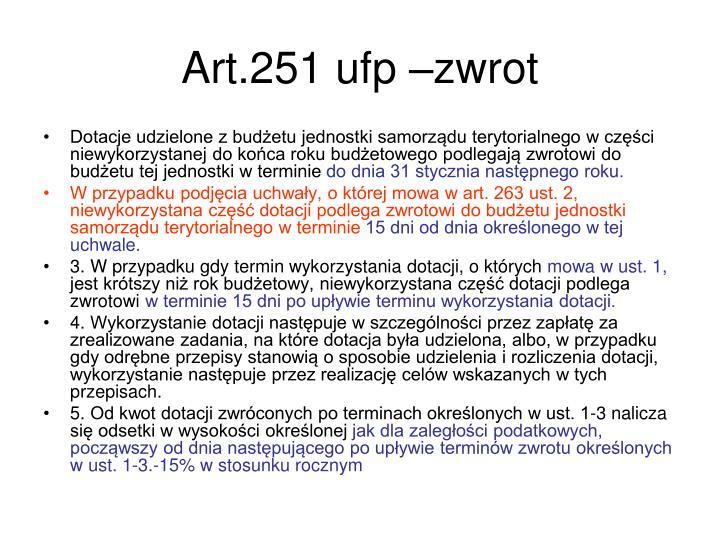 Art.251 ufp –zwrot