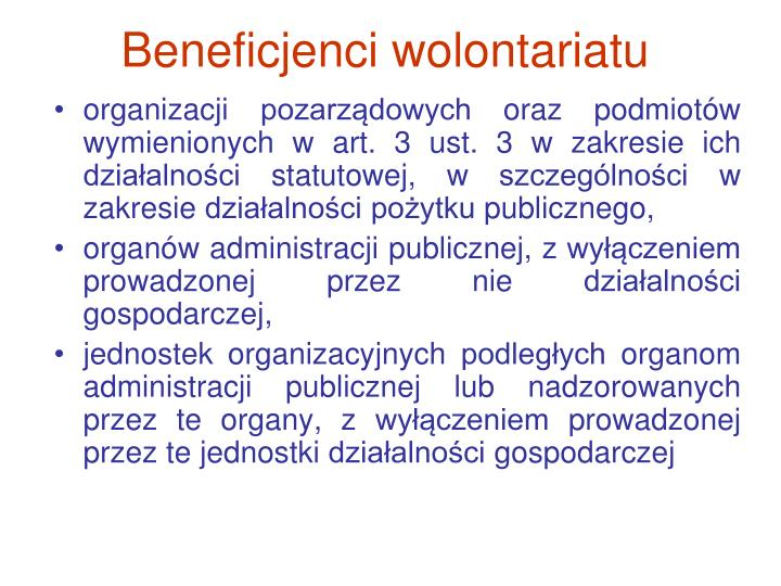 Beneficjenci wolontariatu