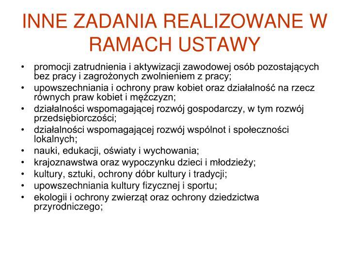 INNE ZADANIA REALIZOWANE W RAMACH USTAWY