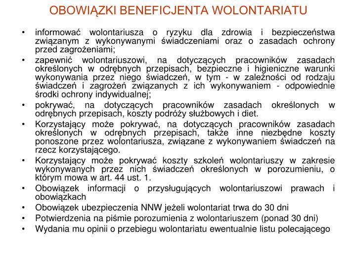 OBOWIĄZKI BENEFICJENTA WOLONTARIATU