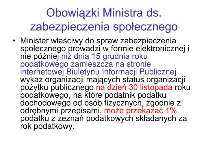 Obowiązki Ministra ds. zabezpieczenia społecznego