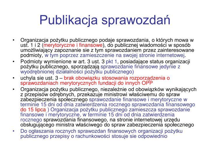 Publikacja sprawozdań